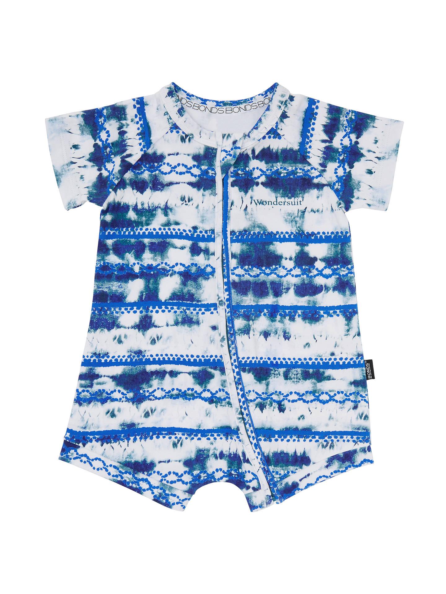 4a9719ccdc Bonds Baby Zip Wondersuit Sandy Romper, Blue/White at John Lewis ...