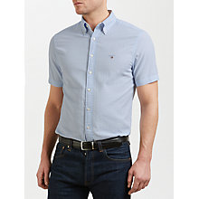 Buy Gant Tech Prep Seersucker Check Short Sleeve Shirt, Lavender Blue Online at johnlewis.com