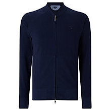 Buy Gant Pique Cotton Full Zip Jumper, Navy Online at johnlewis.com