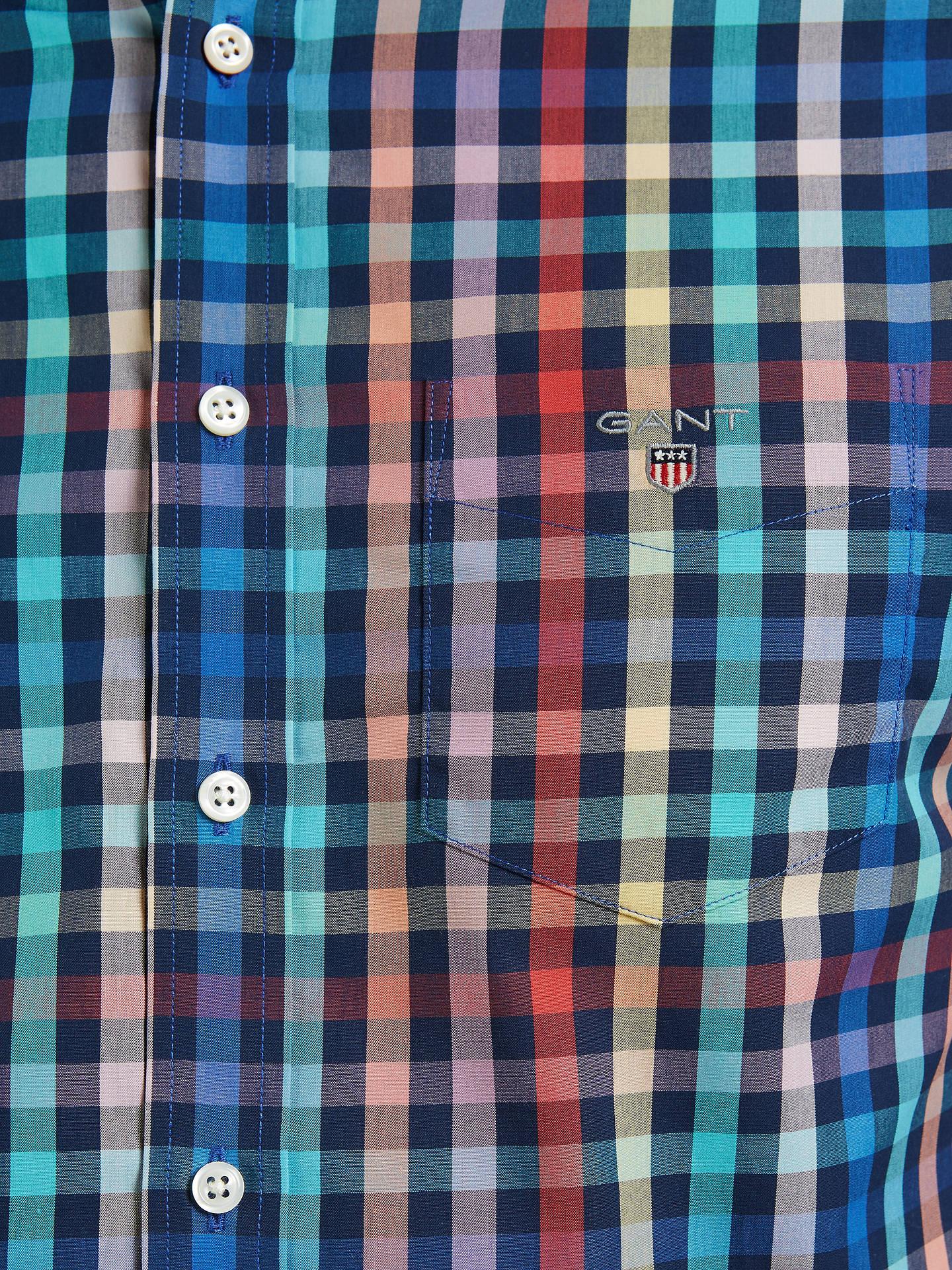 Blue Check Shirt GANT Easy Care Gingham short sleeve