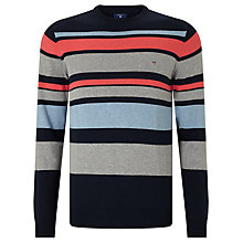 Buy Gant Multi Stripe Cotton Jumper, Navy Multi Online at johnlewis.com