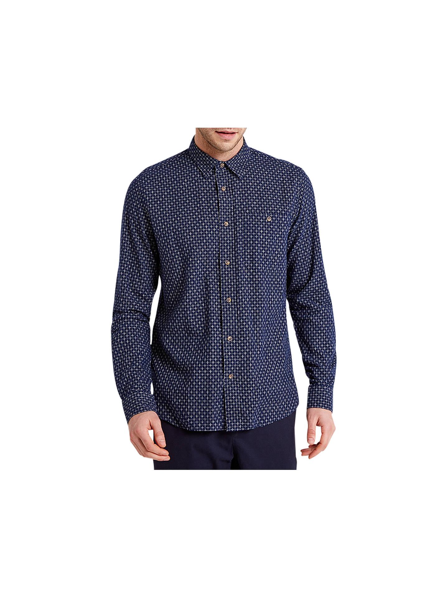 HYMN Target Cross Dobby Shirt, Indigo at John Lewis & Partners