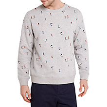 Buy HYMN Kick Football Embroidered Sweatshirt, Grey Marl Online at johnlewis.com