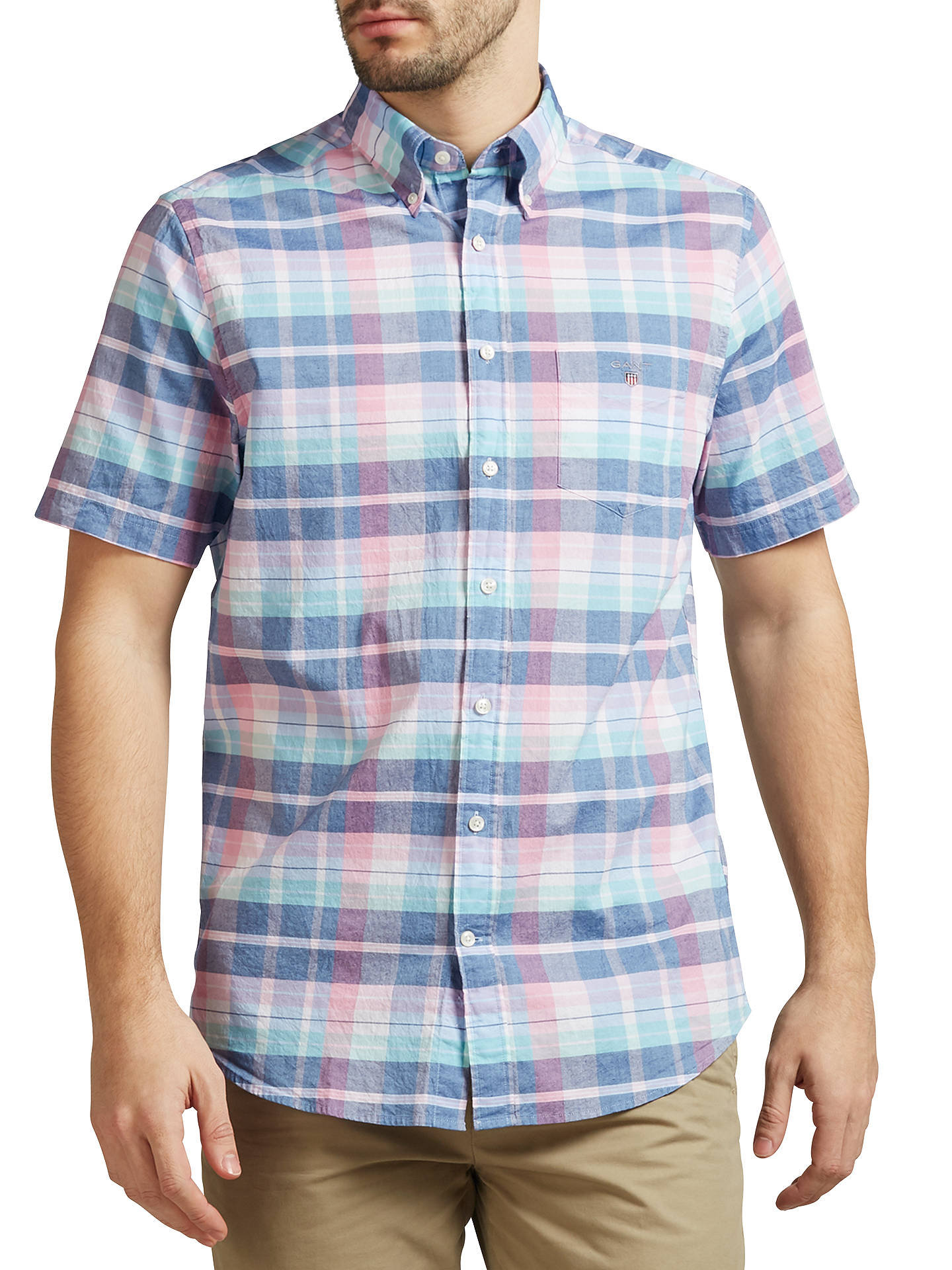 c727845b2f Buy Gant Madras Short Sleeve Plaid Cotton Shirt, Persian Blue, S Online at  johnlewis ...