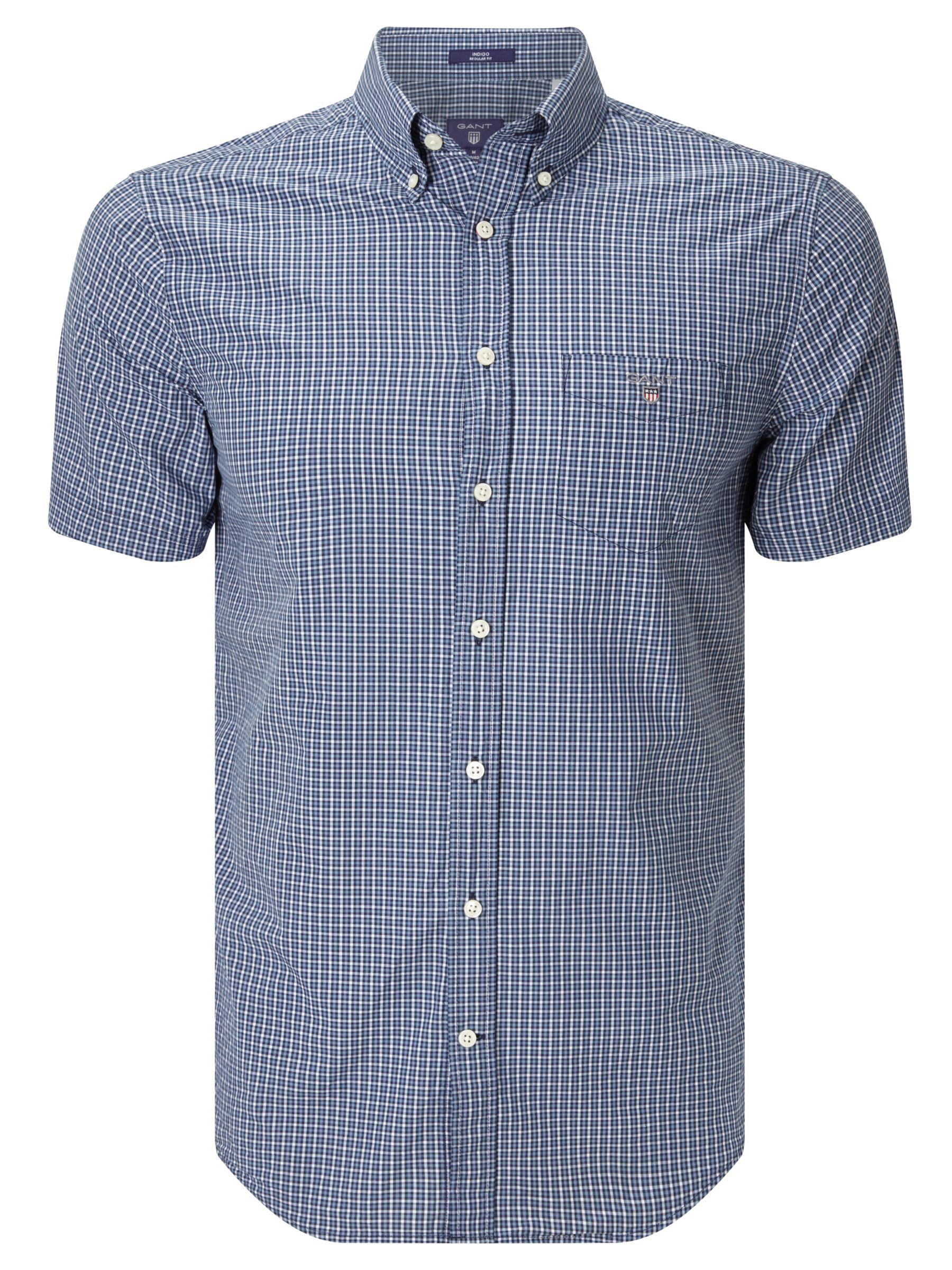 fbab333cbec Gant Indigo Gingham Short Sleeve Shirt, Indigo at John Lewis & Partners