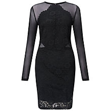 Buy Miss Selfridge Lace Mesh Dress, Black Online at johnlewis.com