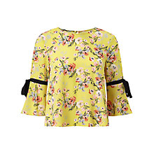 Buy Miss Selfridge Tie Sleeve Floral T-Shirt, Chartreuse Online at johnlewis.com