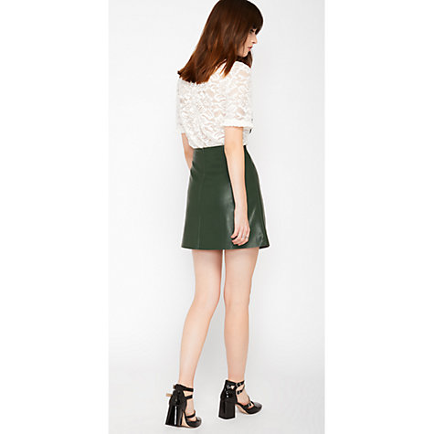 Buy Miss Selfridge PU A-Line Skirt, Dark Green | John Lewis