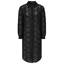 Buy Reiss Carda Lace Shirt Dress, Black Online at johnlewis.com