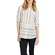Buy Phase Eight Adela Yarn Dye Shirt, White/Navy Online at johnlewis.com