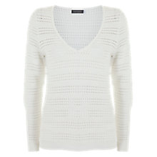 Buy Mint Velvet Pointelle V-Neck Jumper, Ivory Online at johnlewis.com