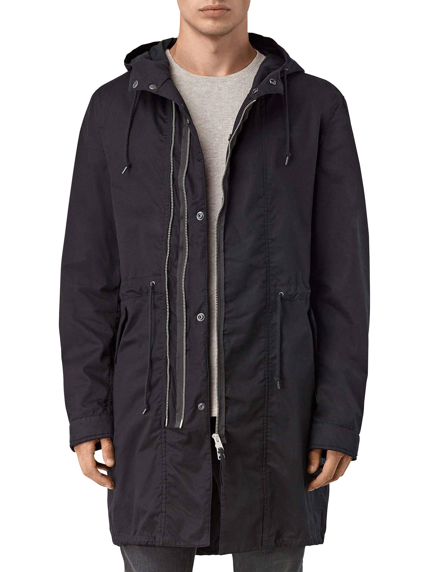 7d0c84c4c88 AllSaints Geo Parka Coat, Black at John Lewis & Partners