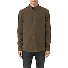 Buy AllSaints Medora Long Sleeve Shirt, Khaki Online at johnlewis.com