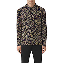 Buy AllSaints Waka Scale Motif Long Sleeve Shirt, Olive Online at johnlewis.com