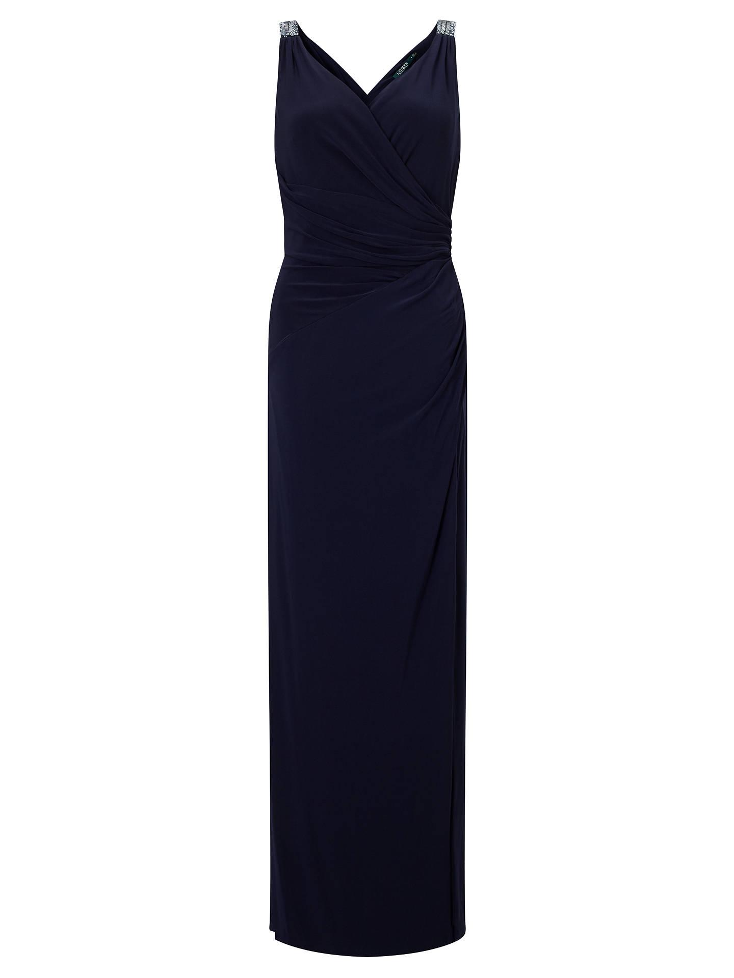 Lauren Ralph Beaded Jersey Dress Lighthouse Navy 8 Online At Johnlewis