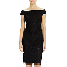 Buy Adrianna Papell Off Shoulder Bead And Velvet Applique Sheath Dress, Black Online at johnlewis.com