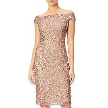 Buy Adrianna Papell Off Shoulder Bead Dress, Rose Gold Online at johnlewis.com