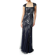 Buy Adrianna Papell Cap Sleeve Fully Beaded Gown, Navy Online at johnlewis.com