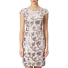 Buy Adrianna Papell Cap Sleeve Mesh Dress, Blush/Gunmetal Online at johnlewis.com