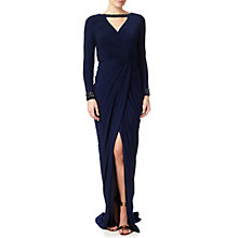 Buy Adrianna Papell Beaded Wrap Jersey Dress, Midnight Online at johnlewis.com