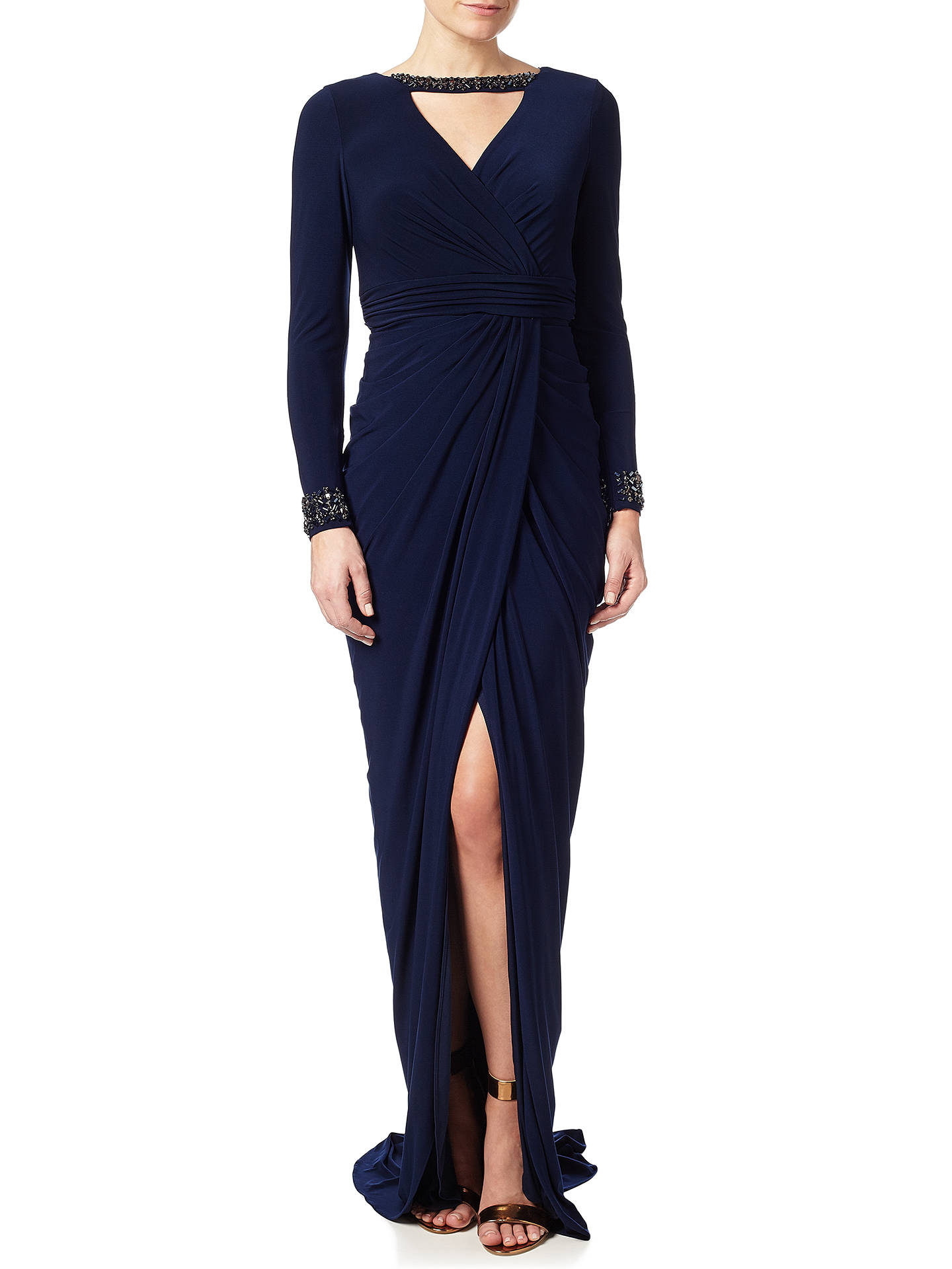fee3dbea6d77 Adrianna Papell Beaded Wrap Jersey Dress, Midnight at John Lewis ...