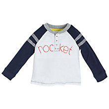 Buy Angel & Rocket Baby Rocket Embroidery Baseball T-Shirt, White/Navy Online at johnlewis.com