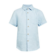 Buy John Lewis Boys' Solid Linen Shirt, Blue Online at johnlewis.com