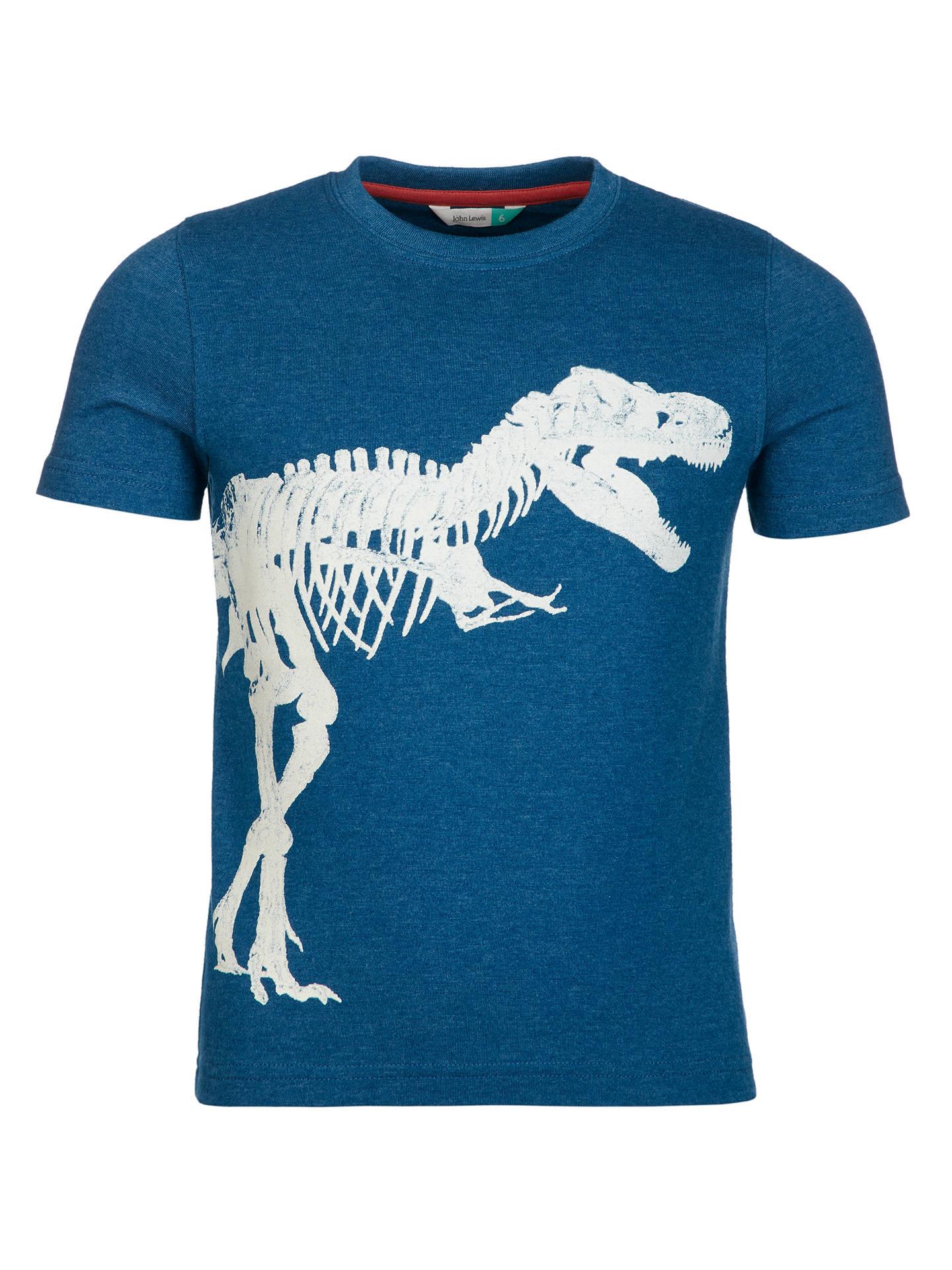 97e17a8d John Lewis Boys' Dinosaur T-Rex Graphic Glow In The Dark T-Shirt ...