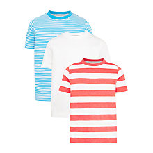 Buy John Lewis Boys' Striped T-Shirt, Pack of 3, Blue/Red Online at johnlewis.com