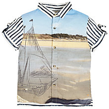 Buy Angel & Rocket Boys' Graphic Boat and Stripe Shirt, Blue/Multi Online at johnlewis.com