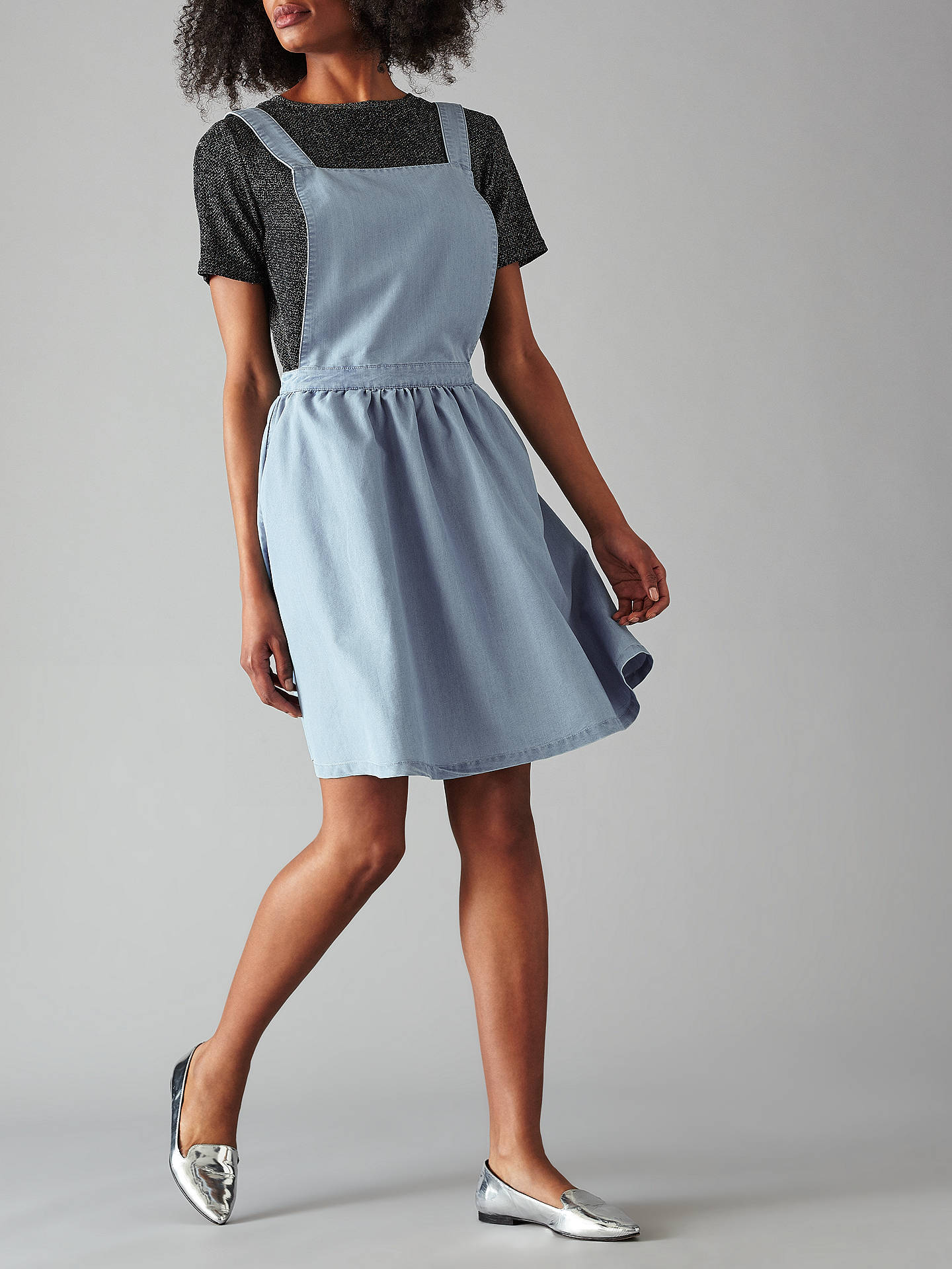 Minimum Inger Apron Dress Light Blue At John Lewis Amp Partners