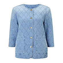 Buy Barbour Heritage Ros Quilted Denim Jacket, Bleach Wash Online at johnlewis.com
