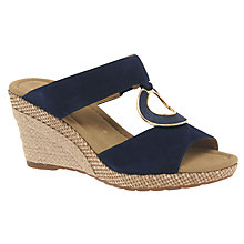Buy Gabor Sizzle Wide Fit Wedge Heeled Sandals, Blue Online at johnlewis.com