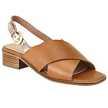 Buy John Lewis Ivy Cross Strap Sandals, Tan/Rose Gold Online at johnlewis.com