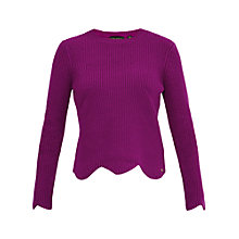 Buy Ted Baker Finda Scalloped Edge Ribbed Jumper, Deep Purple Online at johnlewis.com