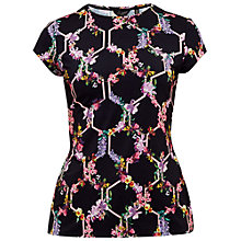 Buy Ted Baker Dellila Lost Gardens Fitted T-Shirt, Black Online at johnlewis.com