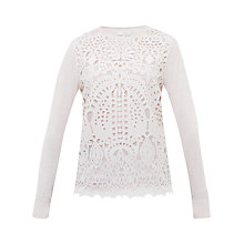 Buy Ted Baker Anlise Geometric Lace Front Jumper, Nude Pink Online at johnlewis.com