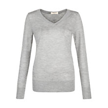 Buy Hobbs Lora Cashmere Jumper, Pale Grey Melange Online at johnlewis.com