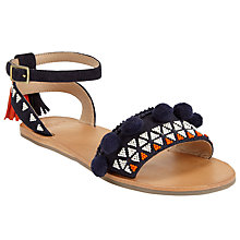 Buy AND/OR Landra Pom Tassel Detail Sandals, Navy Online at johnlewis.com