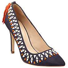 Buy AND/OR Bandra Embellished Tassel Court Shoes, Navy Online at johnlewis.com