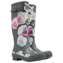 Buy Joules Tall Printed Bloom Rubber Wellington Boots, Grey Online at johnlewis.com
