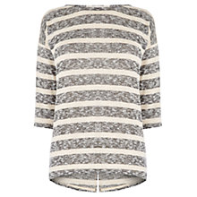Buy Oasis Stripe Warmwear Drop Sleeve Jumper, Multi Grey Online at johnlewis.com
