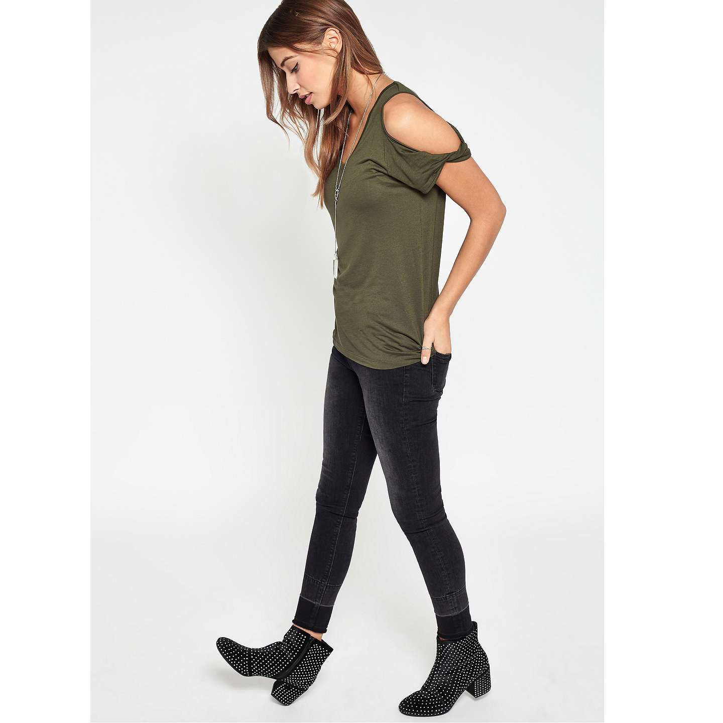BuyMiss Selfridge Cold Shoulder T-Shirt, Khaki, 6 Online at johnlewis.com