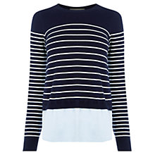 Buy Oasis Stripe Chambray Knit Jumper, Navy Online at johnlewis.com