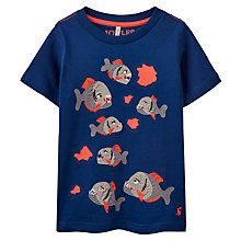 Buy Little Joule Boys' Archie Piranha T-Shirt, Navy/Multi Online at johnlewis.com