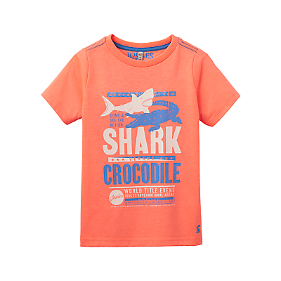 Little Joule Boys' Junior Ben Shark and Crocodile T-Shirt, Orange