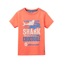 Buy Little Joule Boys' Junior Ben Shark and Crocodile T-Shirt, Orange Online at johnlewis.com