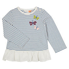 Buy John Lewis Baby Striped Embroidered Butterfly Top, Blue/White Online at johnlewis.com