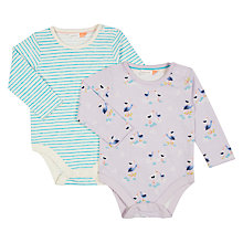 Buy John Lewis Baby Stork Long Sleeve Bodysuits, Pack of 2, Multi Online at johnlewis.com