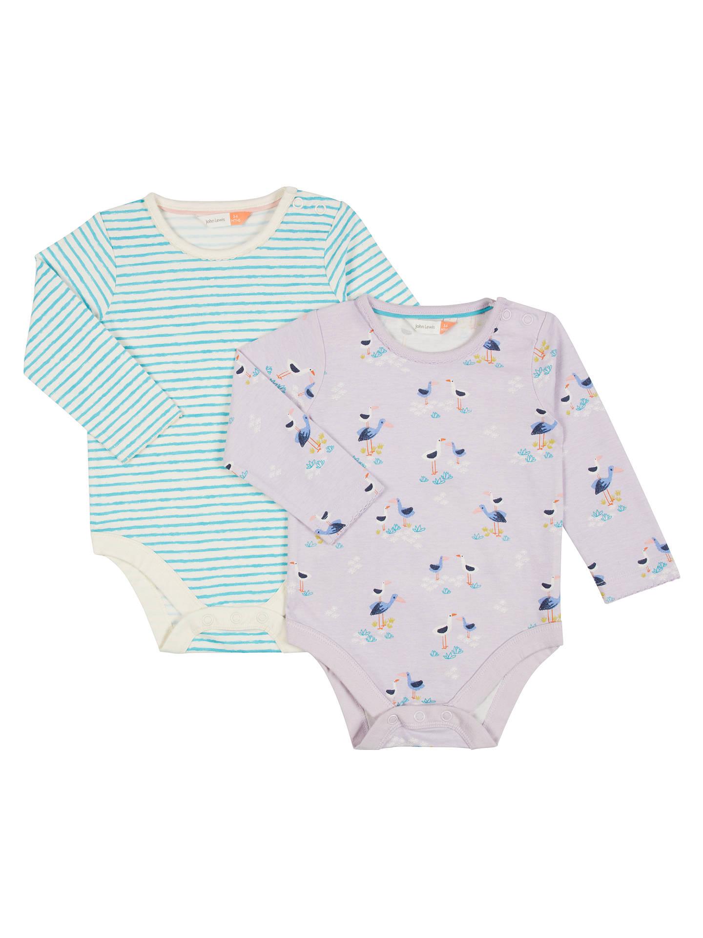 John Lewis Baby Stork Long Sleeve Bodysuits Pack Of 2